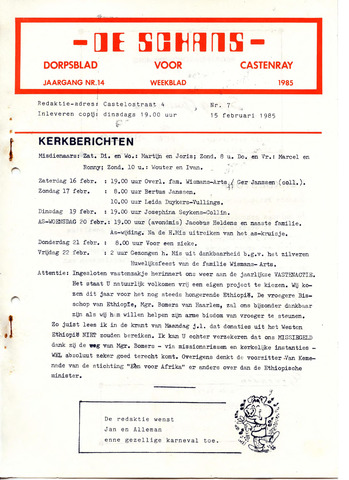 Castenrays dorpsblad De Schans 1985-02-15