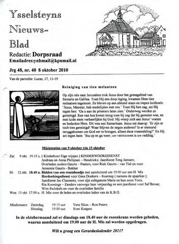 Ysselsteyns Nieuwsblad 2010-10-08