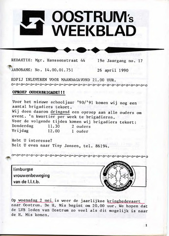 Oostrum's Weekblad 1990-04-26