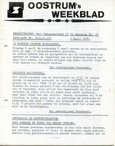 Oostrum's Weekblad 1976-04-01