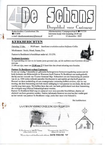 Castenrays dorpsblad De Schans 2007-12-12