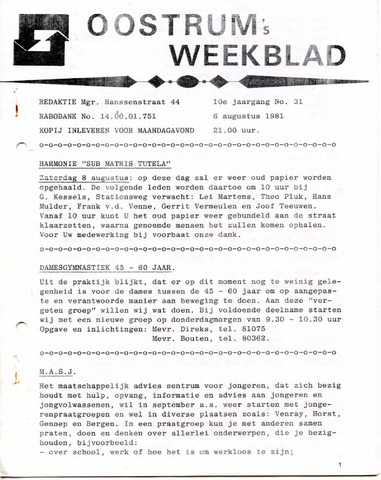 Oostrum's Weekblad 1981-08-06