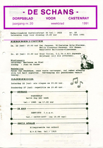 Castenrays dorpsblad De Schans 1991-06-21