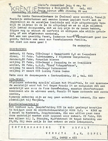 Oirlo's dorpsblad 't Krèntje 1975-02-13