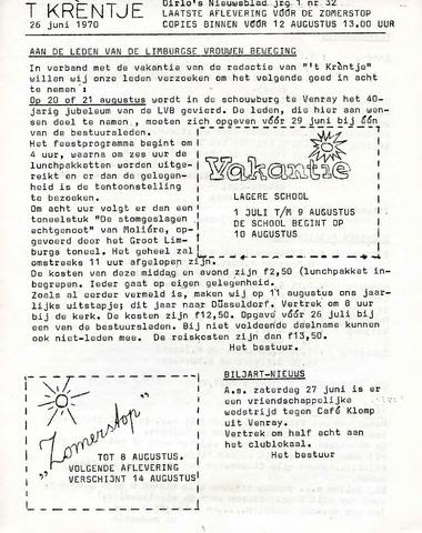 Oirlo's dorpsblad 't Krèntje 1970-06-26