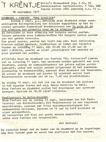 Oirlo's dorpsblad 't Krèntje 1971-09-10
