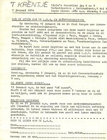 Oirlo's dorpsblad 't Krèntje 1974