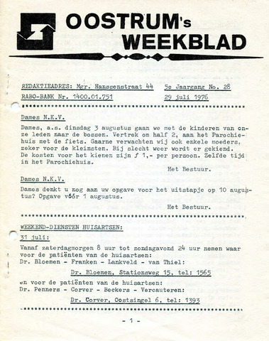 Oostrum's Weekblad 1976-07-29