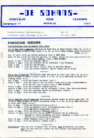 Castenrays dorpsblad De Schans 1984-07-27