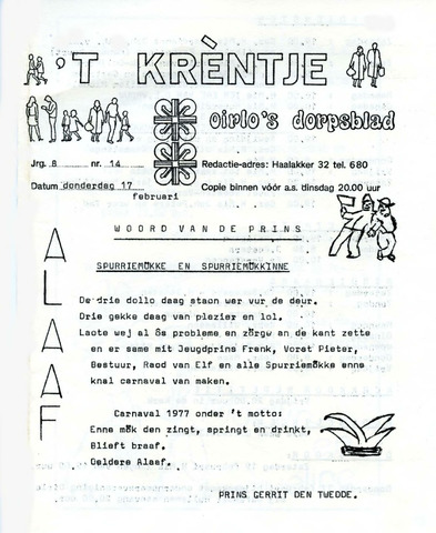 Oirlo's dorpsblad 't Krèntje 1977-02-17