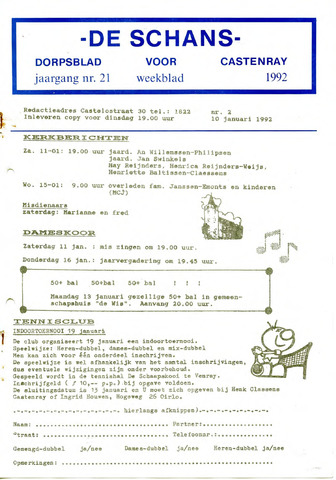 Castenrays dorpsblad De Schans 1992-01-10