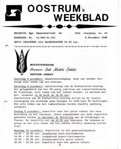Oostrum's Weekblad 1986-11-06