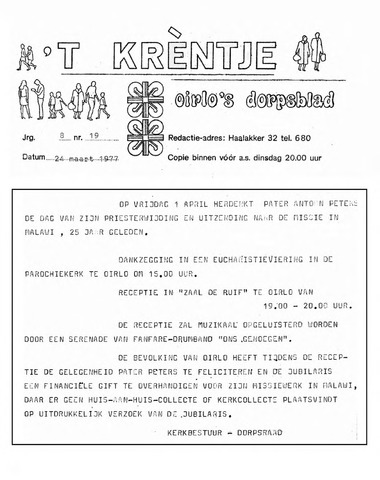 Oirlo's dorpsblad 't Krèntje 1977-03-24