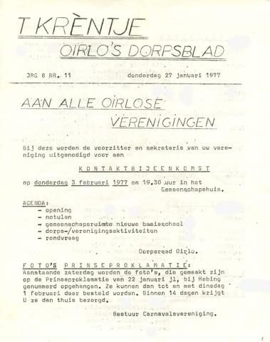 Oirlo's dorpsblad 't Krèntje 1977-01-27