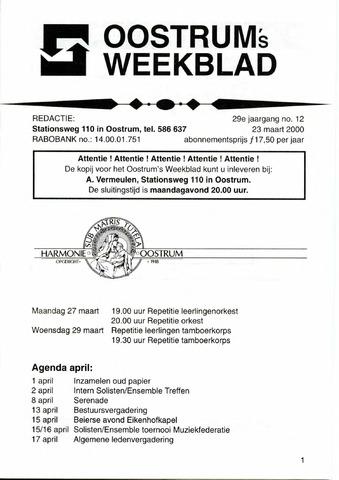 Oostrum's Weekblad 2000-03-23