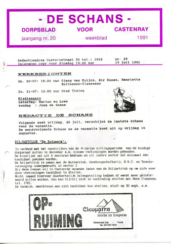Castenrays dorpsblad De Schans 1991-07-19