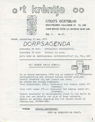 Oirlo's dorpsblad 't Krèntje 1976-05-13
