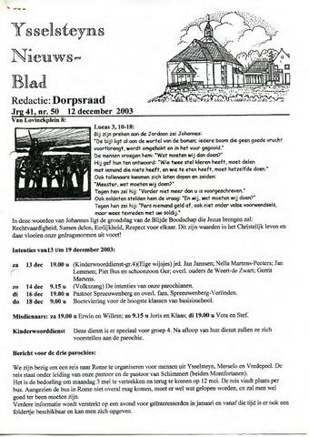 Ysselsteyns Nieuwsblad 2003-12-12