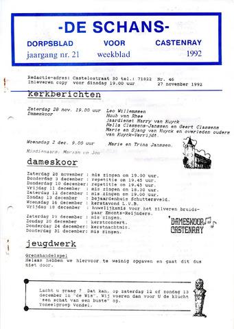 Castenrays dorpsblad De Schans 1992-11-27