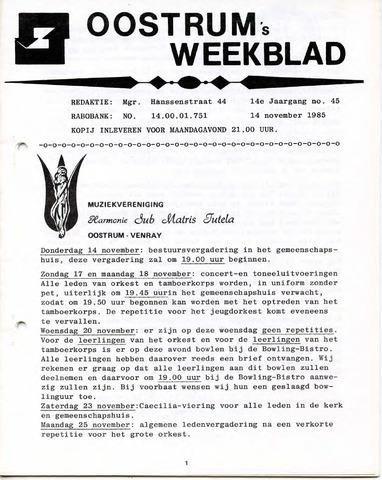 Oostrum's Weekblad 1985-11-14