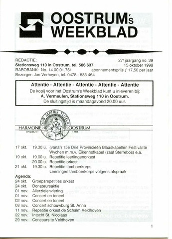 Oostrum's Weekblad 1998-10-15