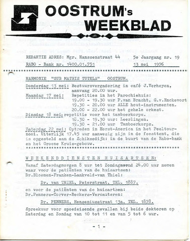 Oostrum's Weekblad 1976-05-13