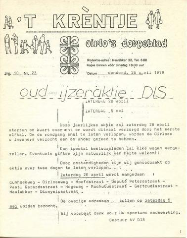 Oirlo's dorpsblad 't Krèntje 1979-04-26