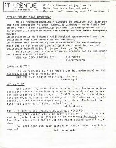 Oirlo's dorpsblad 't Krèntje 1970-02-20