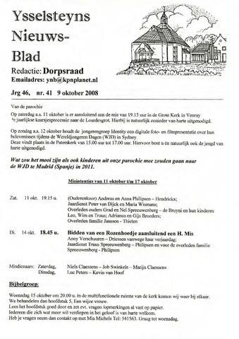Ysselsteyns Nieuwsblad 2008-10-09