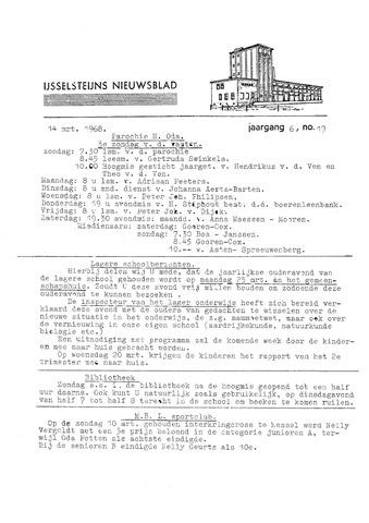 Ysselsteyns Nieuwsblad 1968-03-14