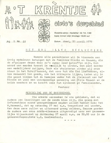 Oirlo's dorpsblad 't Krèntje 1978-04-20