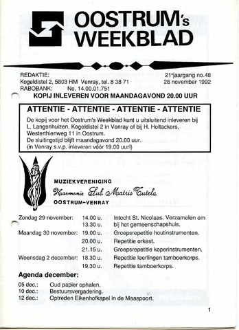 Oostrum's Weekblad 1992-11-26