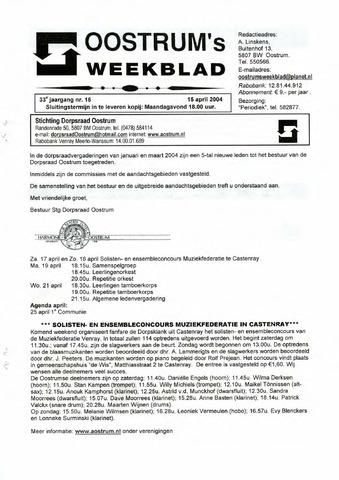 Oostrum's Weekblad 2004-04-15