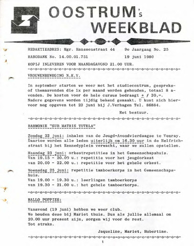 Oostrum's Weekblad 1980-06-19