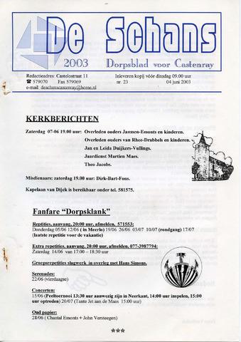 Castenrays dorpsblad De Schans 2003-06-04