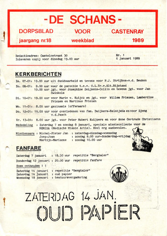 Castenrays dorpsblad De Schans 1989