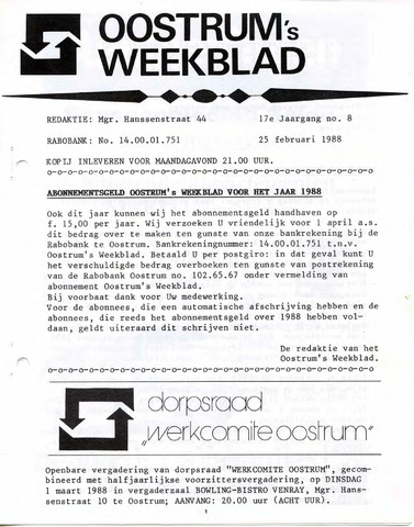 Oostrum's Weekblad 1988-02-25