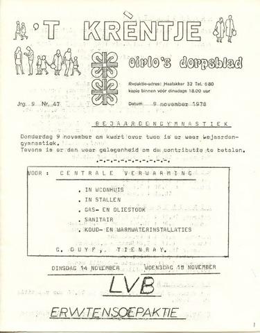 Oirlo's dorpsblad 't Krèntje 1978-11-09