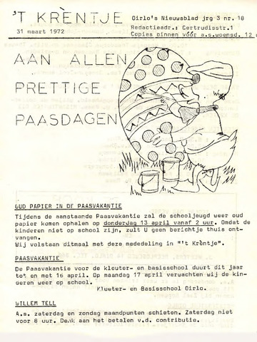 Oirlo's dorpsblad 't Krèntje 1972-03-31