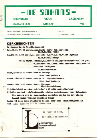 Castenrays dorpsblad De Schans 1986-02-21
