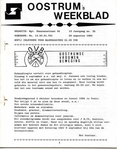 Oostrum's Weekblad 1984-08-30