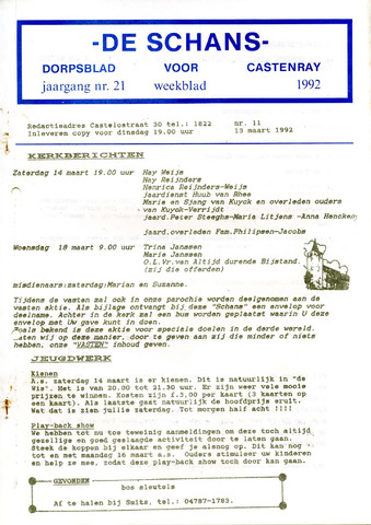Castenrays dorpsblad De Schans 1992-03-13