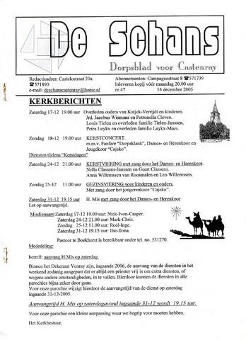 Castenrays dorpsblad De Schans 2005-12-14