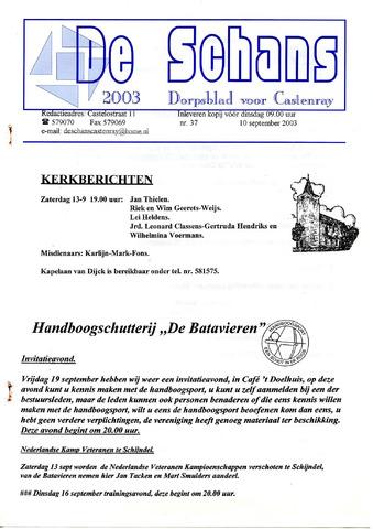 Castenrays dorpsblad De Schans 2003-09-10