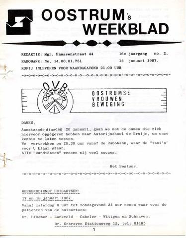 Oostrum's Weekblad 1987-01-15