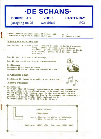 Castenrays dorpsblad De Schans 1992-01-17