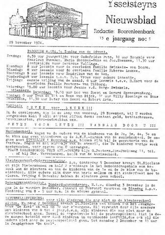 Ysselsteyns Nieuwsblad 1974-11-29