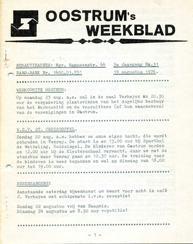 Oostrum's Weekblad 1976-08-19