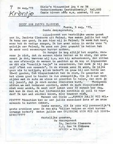 Oirlo's dorpsblad 't Krèntje 1973-08-24