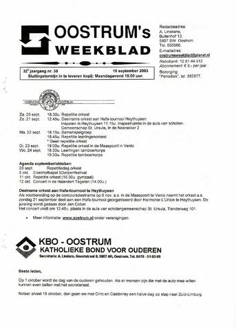 Oostrum's Weekblad 2003-09-18
